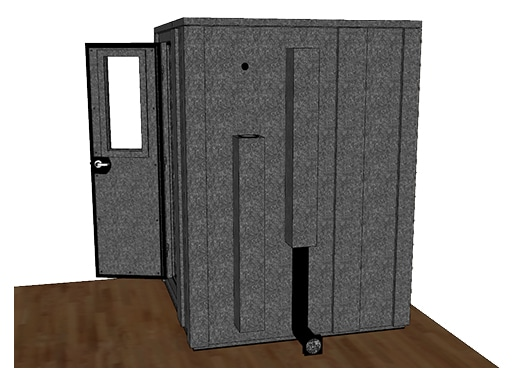 CAD drawing of a WhisperRoom 6060 E from the side with an open door