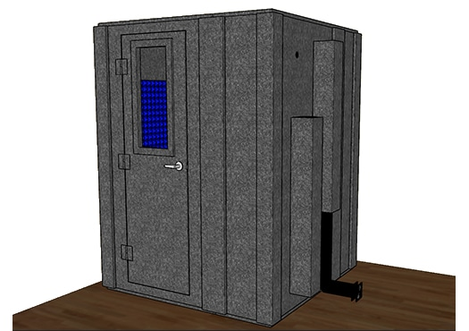 CAD drawing of a WhisperRoom 6060 S with the door closed