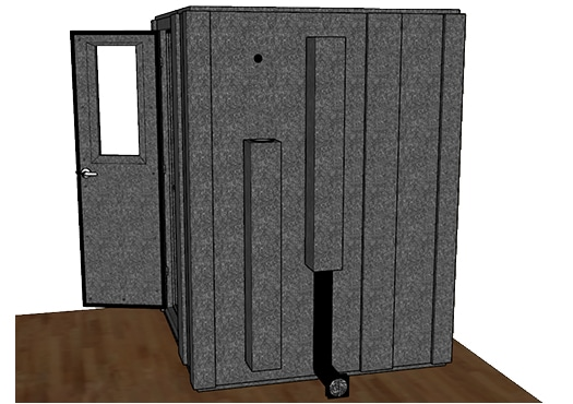 CAD drawing of a WhisperRoom 6060 S from the side with an open door