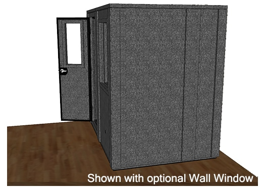 CAD drawing of a WhisperRoom 6084 E from the side with an open door