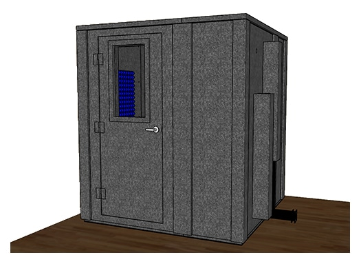 CAD drawing of a WhisperRoom 7272 E with the door closed