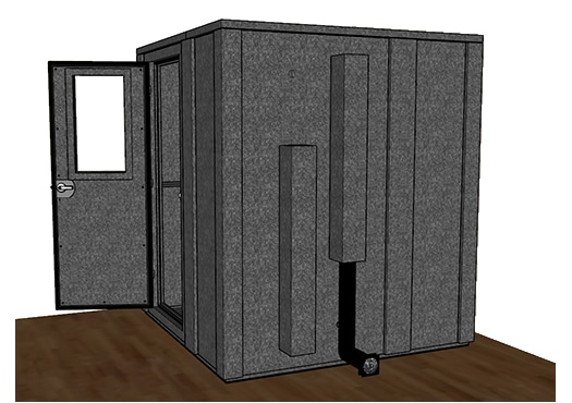 CAD drawing of a WhisperRoom 7272 E from the side with an open door