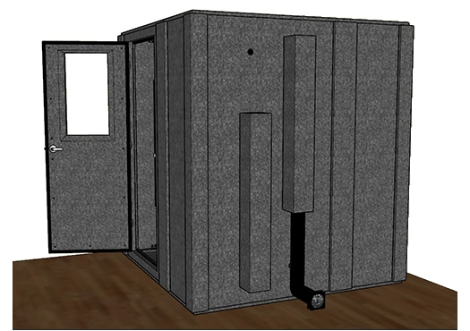 CAD drawing of a WhisperRoom 7272 S from the side with the door open