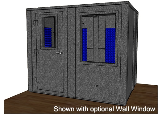 CAD drawing of a WhisperRoom 7296 E with the door closed