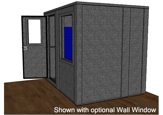 CAD drawing of a WhisperRoom 7296 E from the side with an open door