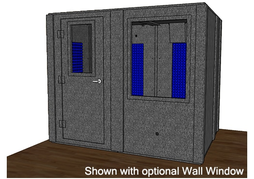 CAD drawing of a WhisperRoom 7296 S with the door closed