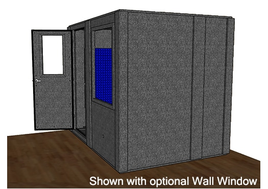 CAD drawing of a WhisperRoom 7296 S from the side with an open door