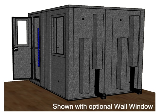 CAD drawing of a WhisperRoom 84102 E from the side with an open door
