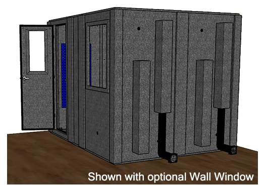 CAD drawing of a WhisperRoom 84102 S from the side with an open door