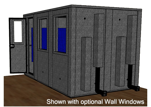 CAD drawing of a WhisperRoom 84126 E from the side with an open door