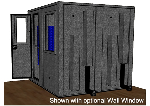 CAD drawing of a WhisperRoom 8484 E from the side with an open door