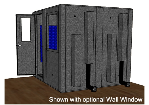 CAD drawing of a WhisperRoom 8484 S from the side with an open door