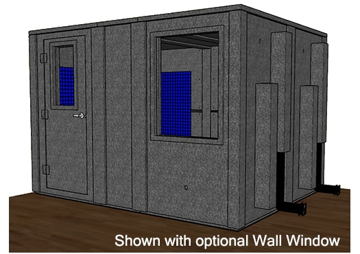 CAD drawing of a WhisperRoom 96120 E with the door closed