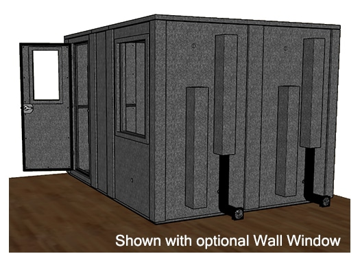 CAD drawing of a WhisperRoom 96120 E from the side with an open door
