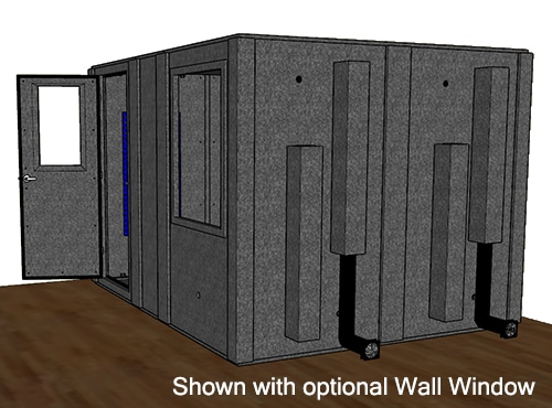 CAD drawing of a WhisperRoom 96120 S from the side with an open door