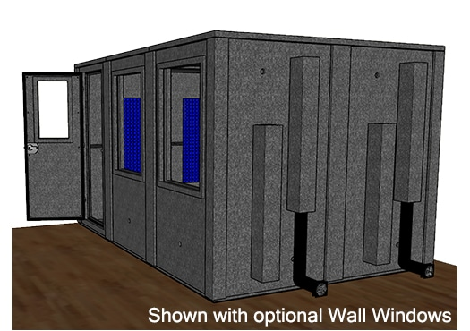 CAD drawing of a WhisperRoom 96144 E from the side with an open door