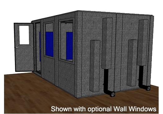 CAD drawing of a WhisperRoom 96144 S from the side with an open door