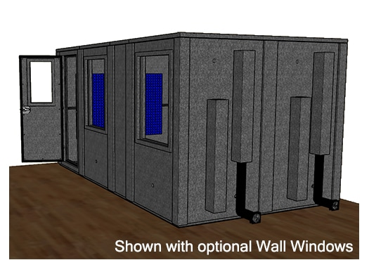 CAD drawing of a WhisperRoom 96168 E from the side with an open door