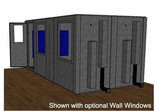 CAD drawing of a WhisperRoom 96168 S from the side with an open door