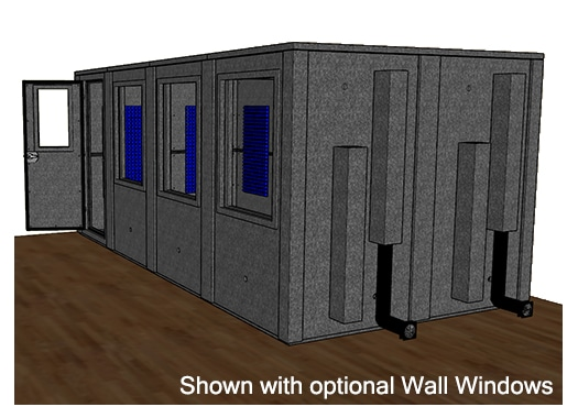 CAD drawing of a WhisperRoom 96192 E from the side with an open door