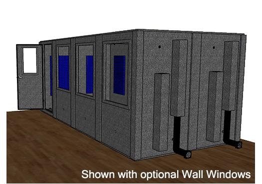 CAD drawing of a WhisperRoom 96192 S from the side with an open door
