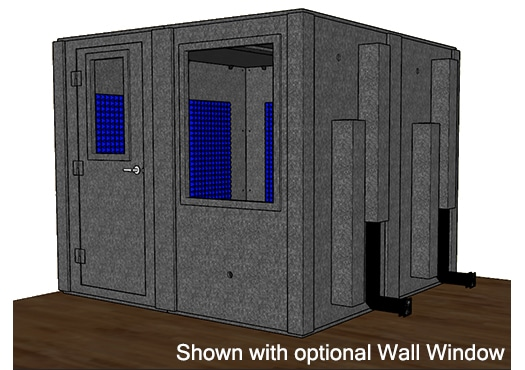 CAD drawing of a WhisperRoom 9696 S with the door closed