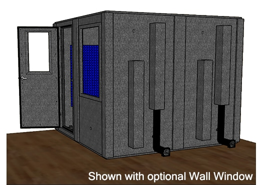 CAD drawing of a WhisperRoom 9696 S from the side with an open door