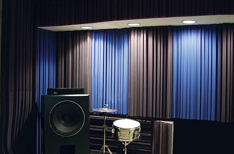 Acoustic curtains inside of music room