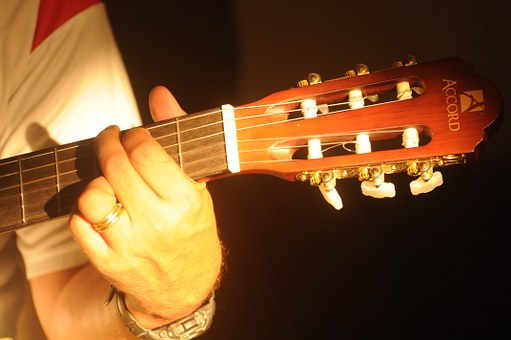 Hand position of a G Major chord on guitar