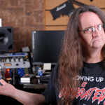 Glenn Fricker sitting in his recording studio