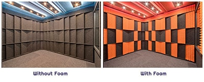 image of acoustic wall panels and studio foam inside of a WhisperRoom