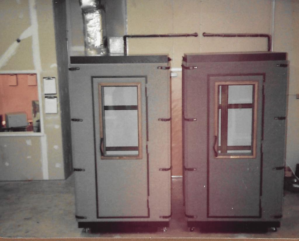 Two WhisperRoom soundproof booths in the 1990s
