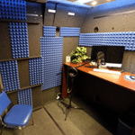 The interior of Kennesaw State University's WhisperRoom with a desk and monitor