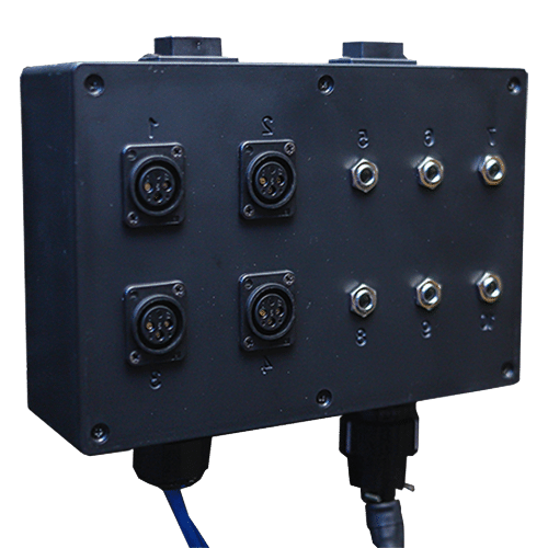 "The Multi Jack Panel with 4 XLR inputs and 6 1/4"" inputs"