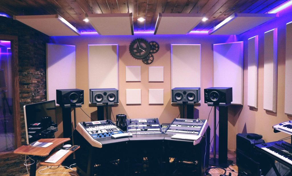 Acoustic panels on the wall and ceiling of a recording studio.
