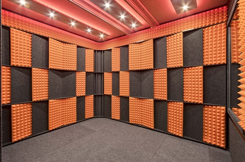 interior of a whisperroom with studio foam on the wall panels