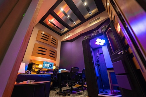 A WhisperRoom vocal booth inside of Bay Eight Studio C in Miami.