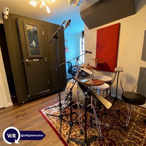 A WhisperRoom, a drum set, and acoustic panels inside of Cliff Goldmacher's Nashville recording studio