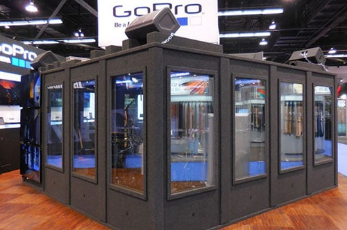 image of a custom build WhisperRoom that was made for GoPro at the NAMM Show