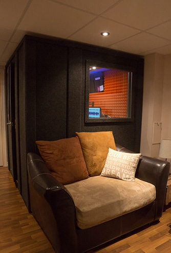 A WhisperRoom narration studio inside of home's basement.