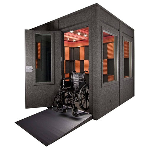 image of whisperroom booth with ADA package and a wheelchair