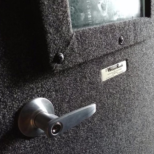 close up image of a whisperroom door from the outside