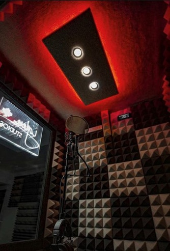 The interior of a 3.5'x3.5' Vocal Booth by WhisperRoom