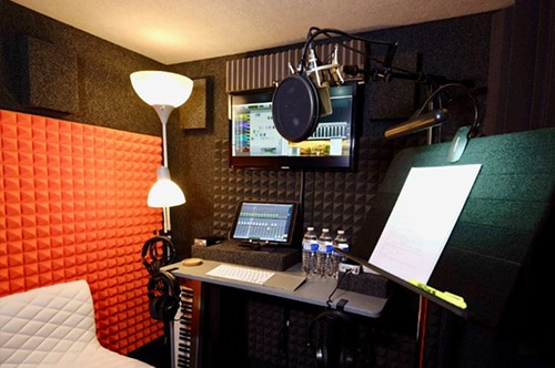 The interior of a WhisperRoom voice over booth