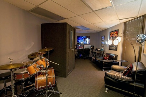 A WhisperRoom vocal booth inside of a production studio.