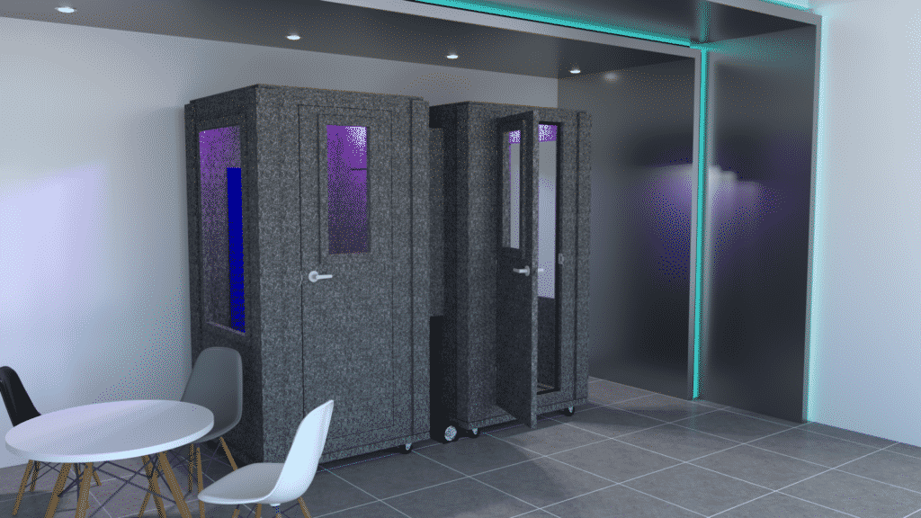 Two Office Booths by WhisperRoom™ inside of an office lobby