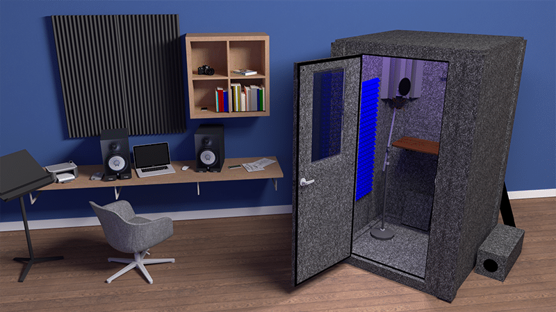 The Voice Over Basic booth inside of a home recording studio.