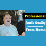 """Voice Actor and vocal instructor Bill DeWees inside of his WhisperRoom with text that reads """"Professional Audio Quality From Home"""""""