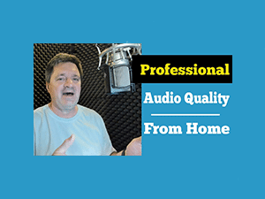 "Voice Actor and vocal instructor Bill DeWees inside of his WhisperRoom with text that reads ""Professional Audio Quality From Home"""