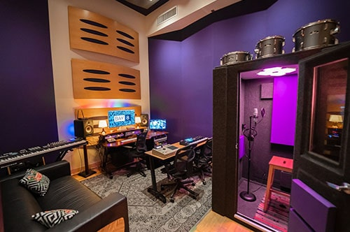 A WhisperRoom Vocal Booth shown inside of Bay Eight Recording Studio's Studio C.